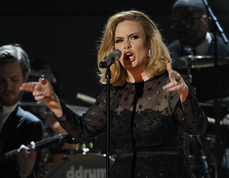 Adele performing on stage 2012 Grammy Awards