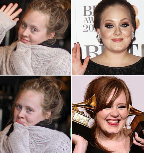 Adele with and without makeup