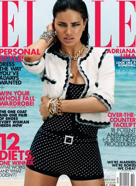 Adriana Lima Elle October 2011 cover