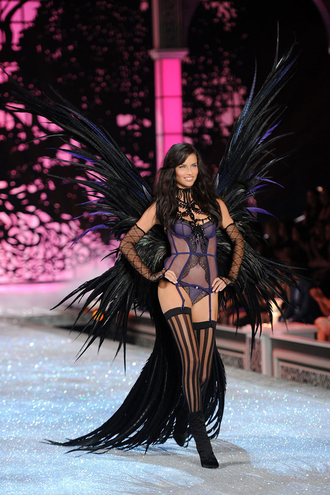 Adriana Lima feathered Victoria Secret costume
