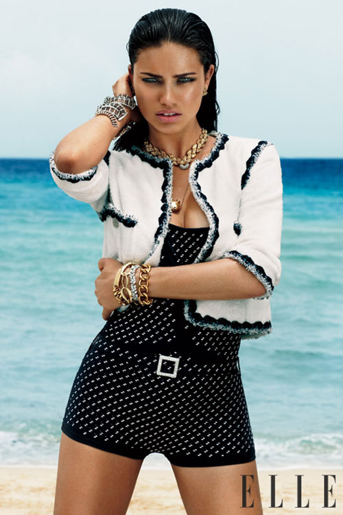 Adriana Lima retro outfit Elle October 2011