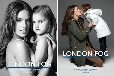 Alessandra Ambrosio with daughter in London Fog ads