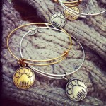 Alex and Ani bangles with paw charm