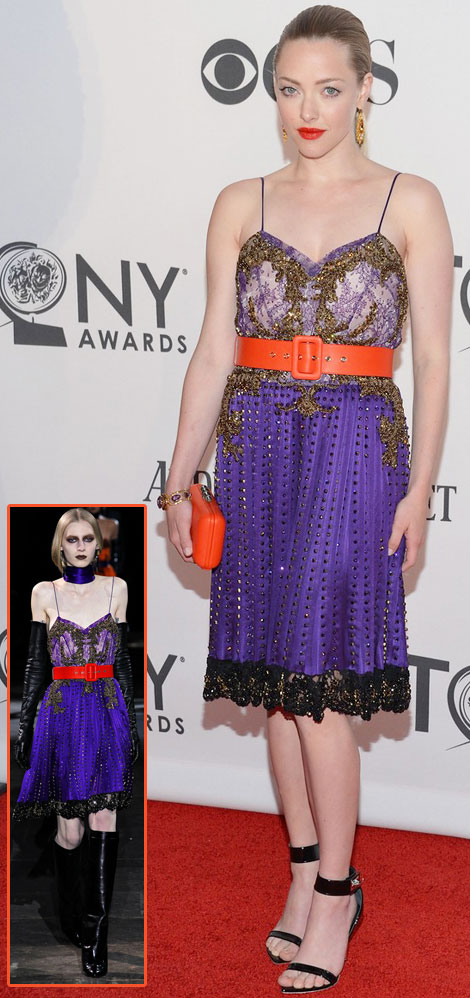 Tony Awards Red Carpet: Amanda Seyfried's Orange Lips, Belt And Bag