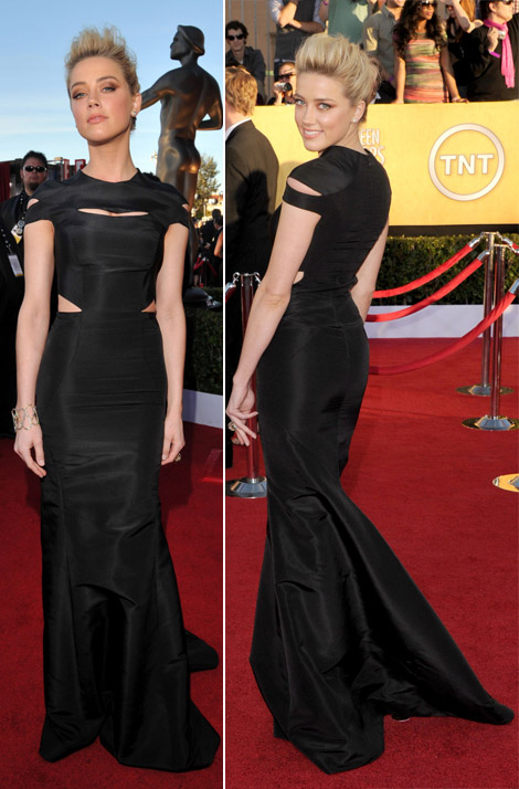 Amber Heard cutout black Zac Posen dress 2012 SAG