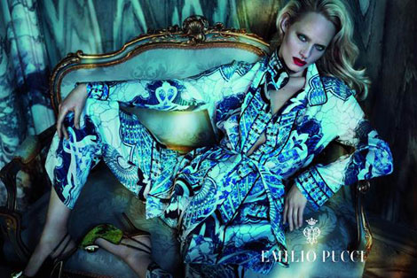 Amber Valletta Emilio Pucci fall 2012 ad campaign Amber Valletta's Bleached Eyebrows For Emilio Pucci Fall 2012 Campaign