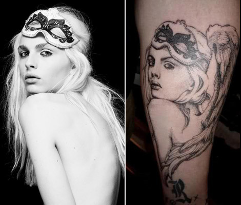 Andrej Pejic with angel wings tattoo