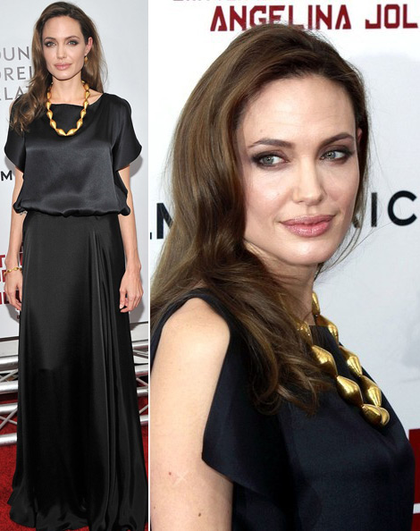 Angelina Jolie black dress movie premiere Land of Blood and Honey