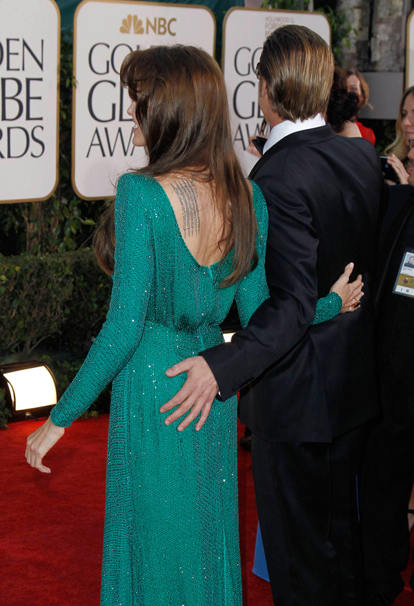 Angelina Jolie green Versace dress Golden Globes 2011 2