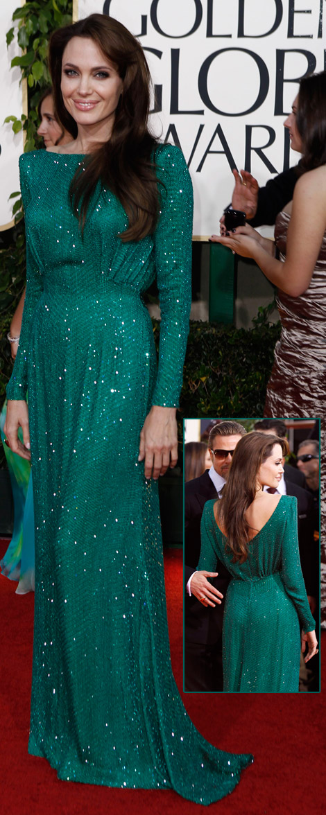 Angelina Jolie green Versace dress Golden Globes 2011