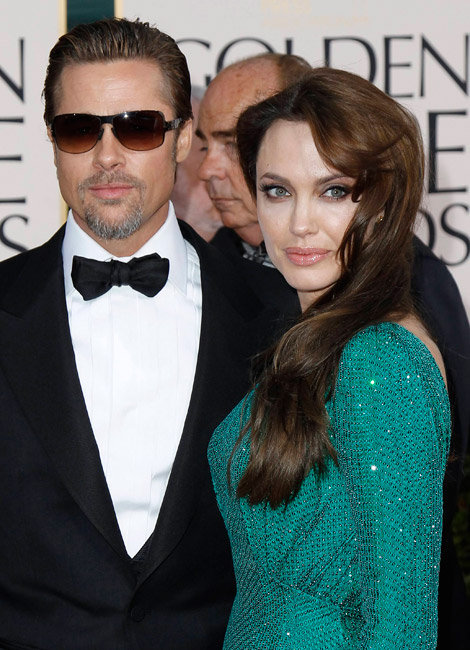 Angelina Jolie green Versace dress Robert Procop Jewelry Golden Globes 2011