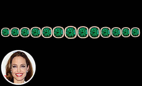 Angelina Jolie new jewelry emerald bracelet