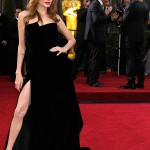 Angelina Jolie s showing some leg on the 2012 Oscars Red Carpet