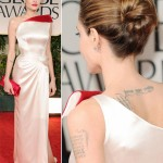 Angelina Jolie white and red Versace dress 2012 Golden Globes