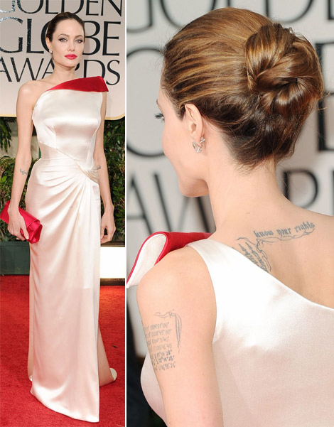 Angelina Jolie's White And Red Versace Dress For 2012 Golden Globes Awards