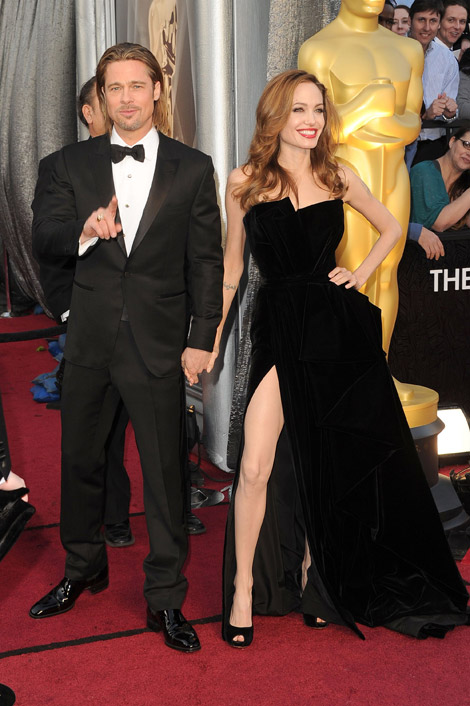 Angelina Jolie with Brad Pitt on the 2012 Oscars Red Carpet