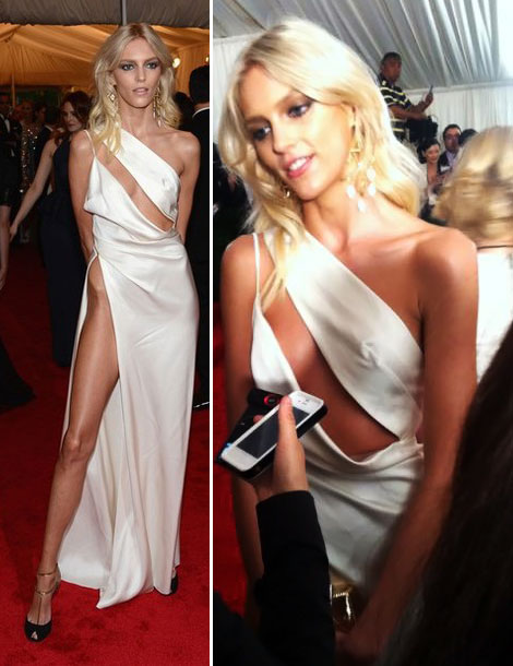 Anja Rubik Vaccarello white cutout dress Met Gala 2012