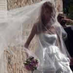 Anja Rubik white bride dress with veil