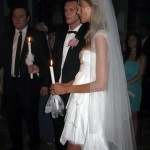 Anja Rubik white wedding dress church wedding ceremony with Sasha Knezevic