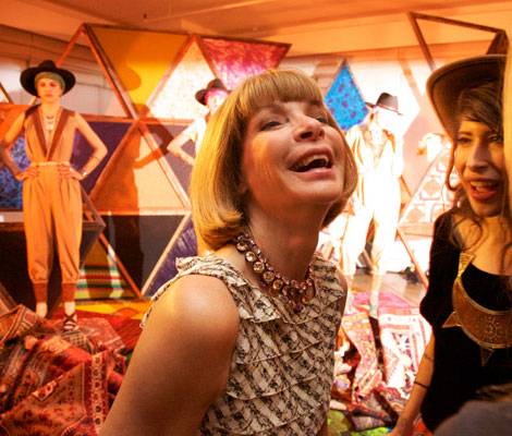 Anna Wintour laughing her heart out
