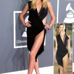 Anne V in Anthony Vacarello black dress at the Grammy Awards