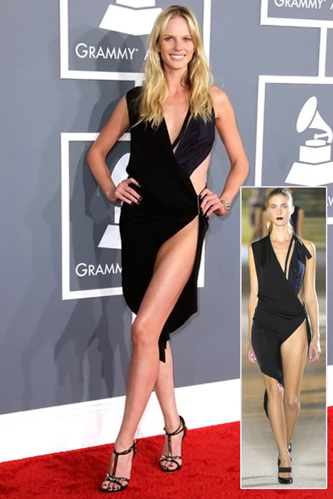 Adam Levine's Anne V. Black Dress For 2012 Grammy Awards