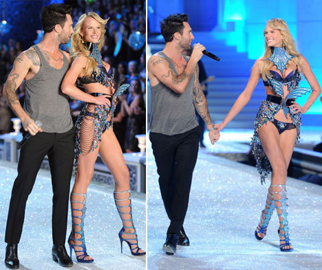 adam levine and anne vyalitsyna victoria's secret fashion show