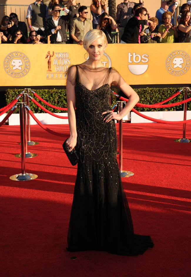 Ashlee Simpson black Jenny Packham dress 2012 SAG