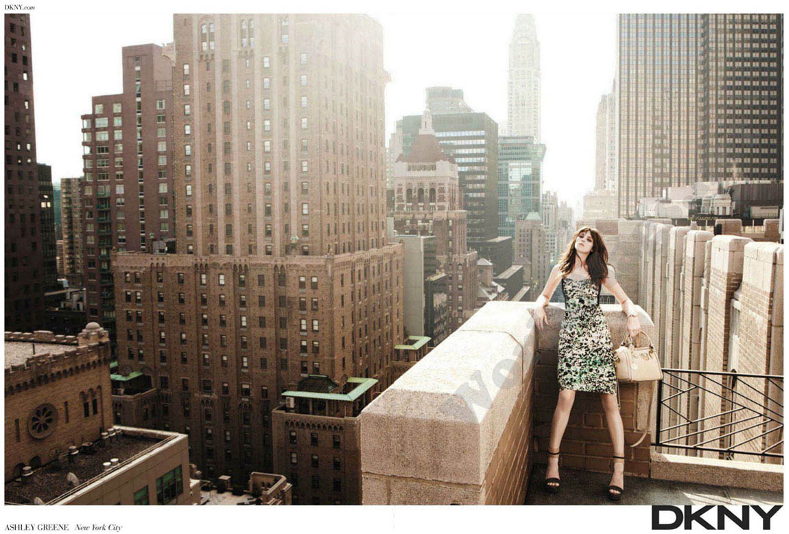 Ashley Greene DKNY rooftop ad campaign
