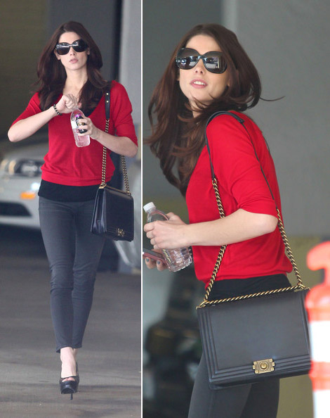 Ashley Greene out with Chanel Boy Chanel black bag