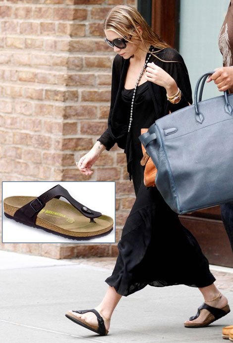 Ashley Olsen wears black Birkenstock Gizeh sandals