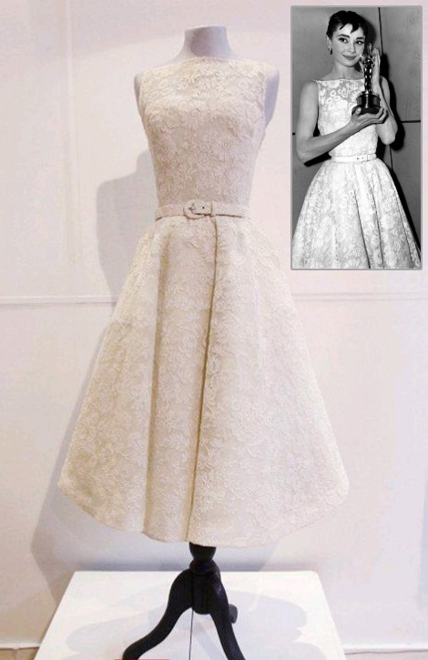 Audrey Hepburn Rome Holiday white lace dress
