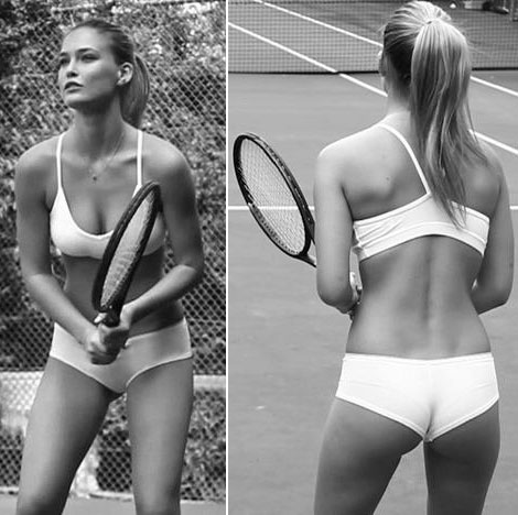 Bar Refaeli playing tennis in lingerie