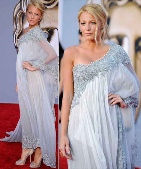 Blake Lively Marchesa one shoulder dress Red Carpet