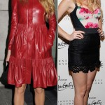 Blake Lively in red leather and Dolce and Gabbana outfit