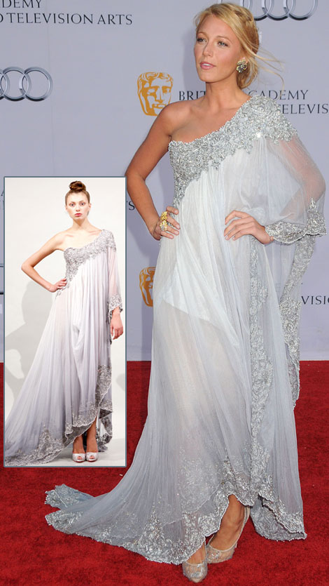 Blake Lively's Soft Blue One Shoulder Marchesa Dress At BAFTA Brits To Watch