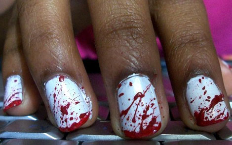 blood splattered manicure for Halloween