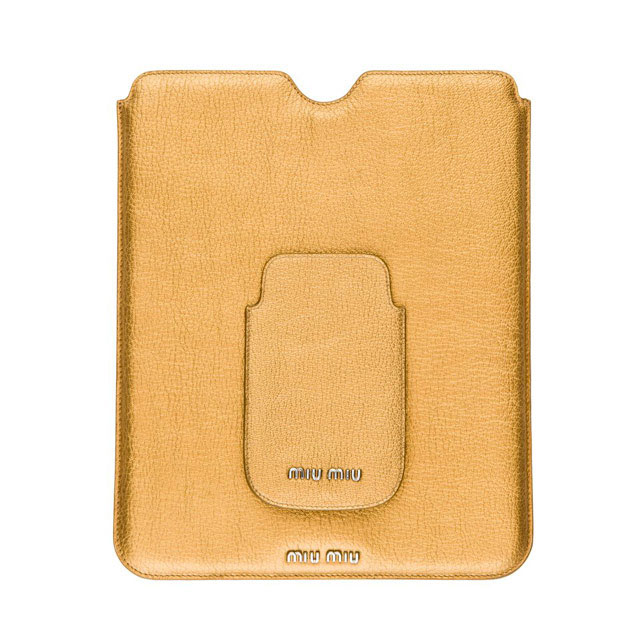 Bronze iPad sleeve Miu Miu