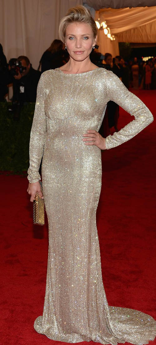 Cameron Diaz silver Stella McCartney dress Met Ball 2012