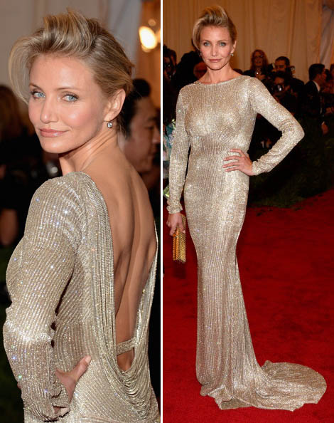 Cameron Diaz silver Stella McCartney dress Met Gala 2012