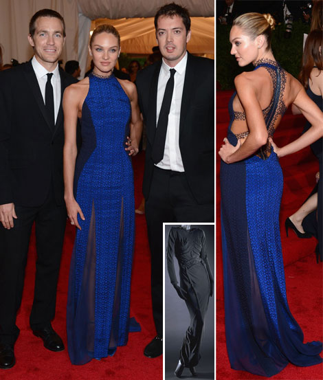 Models At Met Gala 2012: Candice Swanepoel In Blue Rag & Bone Dress