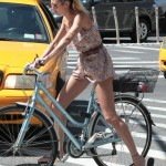 Candice Swanepoel in New York on her bike