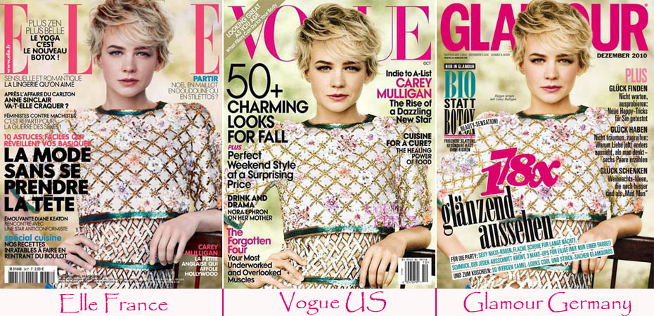 Carey Mulligan's Elle France Cover Identical To Glamour's Germany December Cover. Same As Vogue's October 2010 Cover