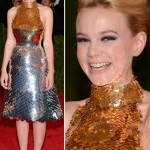 Carey Mulligan silver and golden Prada dress Met Gala 2012