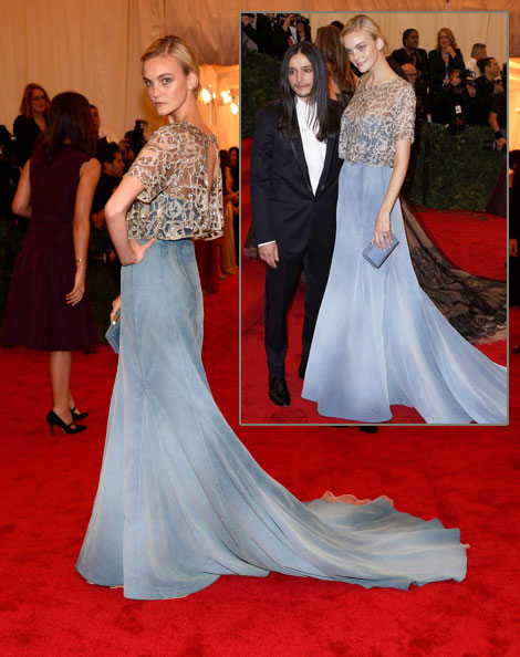 Models At Met Gala 2012 Caroline Trentini Theyskens Light Blue Dress