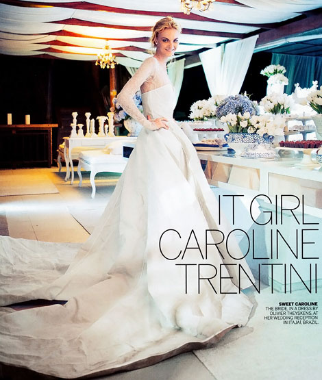 Caroline Trentini Theyskens white wedding dress
