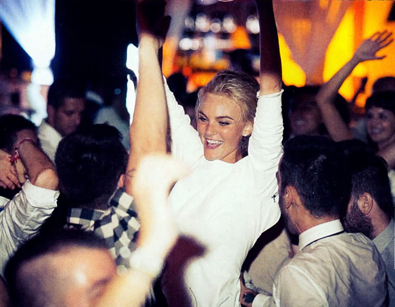 Caroline Trentini dancing at her wedding in white Theyskens leather dress