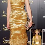 Cate Blanchett golden Alexander McQueen dress 2012 AACTA Awards
