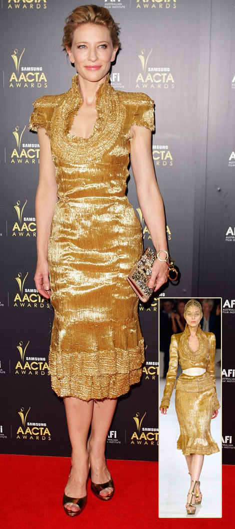 Cate Blanchett's Golden Alexander McQueen Dress For 2012 AACTA Awards
