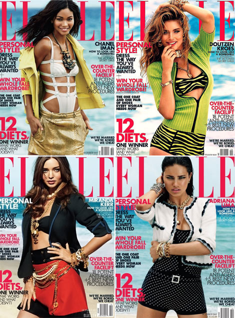 Chanel Doutzen Miranda Adriana Elle October 2011 covers